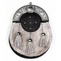 Sporran - bovine fur, embossed leather medallion chrome cantle- Gaelic Themes
