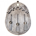 Sporran - bovine fur, crossed chains and antiqued silver scalloped cantle- Gaelic Themes