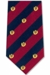 Tie - silk - red and blue stripe with Gold thistle