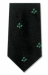 Tie - silk - Black with green shamrocks